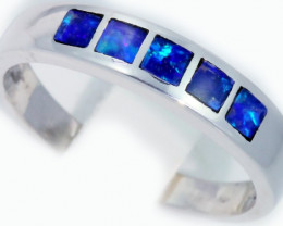 Cute Inlay Opal 18k White Gold Ring SB 909