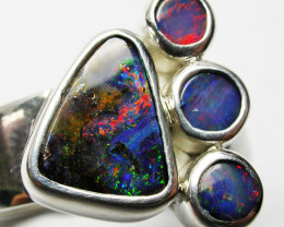 7 RING SIZE NATURAL BOULDER OPAL RING WITH DOUBLETS SOJ2269