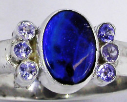 8.5 RING SIZE OPAL + TANZANITE RING SILVER-FACTORY [SOJ2963]