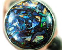 Auction #662048 7.5 SIZE BOULDER OPAL RING -NATURAL-SILVER [SOJ5863]