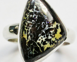 RING SIZE 7 NATURAL BOULDER OPAL RING SILVER [SOJ2272]SH