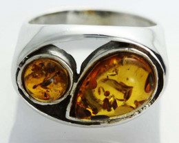 UNISEX AMBER SILVER RINGS 7 SIZE 31.25 CTS [SJ541]