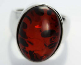 UNISEX AMBER SILVER RINGS 5 1/2 SIZE 32.50 CTS [SJ540]