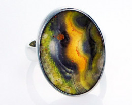 8 RING SIZE BUMBLE JASPER SILVER RING. [SJ2802]
