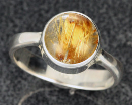 RUTILATED QUARTZ SILVER RING SIZE 9[SJ2108]SH