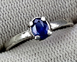 925 Silver Royal Blue Sapphire Ring 6.50 Carats 7 mm Ring