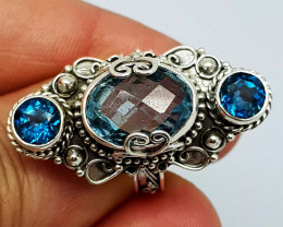 Natural London Blue Topaz 44.00 Carats 925 Silver Ring