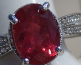 Red Tourmaline 2.65ct,White Gold Plated,Solid Sterling Silver Ring