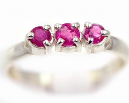SIZE 7 PINK AUSTRALIAN SAPPHIRES SET IN SILVER RING [SJ4540]