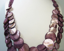 MAUVE PURPLE PEARL SHELL STYLE NECKLACE QT186