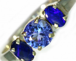 8 SIZE TANZANITE AND OPAL RING -FACTYORY DIRECT [SJ4565]