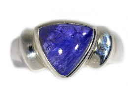 7 RING SIZE TANZANITE SILVER RING -CABACHONE [SJ2931]