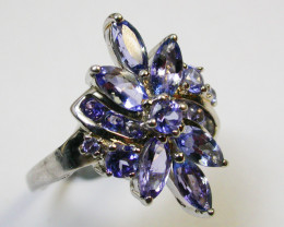 7.5 RING SIZE TANZANITE SILVER RING CLUSTER [SJ2473]SH