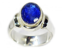 7.5 RING SIZE TANZANITE SILVER RING -FACETED [SJ2943]