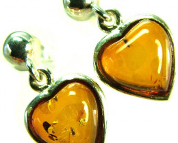 BALTIC AMBER EARRINGS SILVER 10.70 CTS [SJ515]