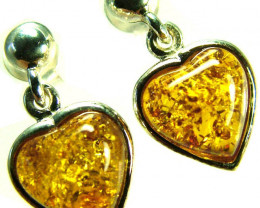 BALTIC AMBER EARRINGS SILVER 11.20 CTS [SJ517]