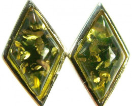 GREEN AMBER EARRINGS -POLAND 10.65 CTS [SJ501]
