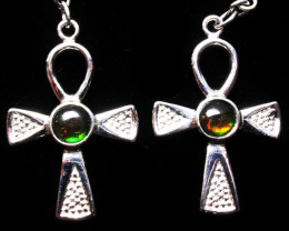 25.35 CTS AMMOLITE EARRINGS -SLIVER [SJ2530]