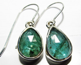 NATURAL EMERALD EARRINGS -SILVER [SJ4102]