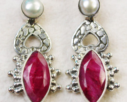 42.00 CTS RUBY AND PEARL EARRINGS AFRICA [SJ1732]