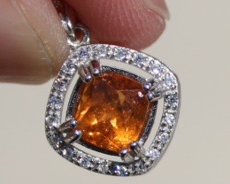 Hessonite 1.70ct,White Gold Plated,Solid 925 Sterling Silver Pendant
