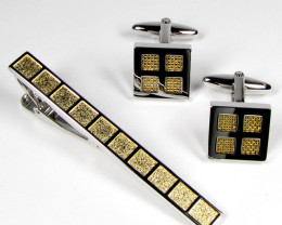 COLOURFUL GOLD TIE N MENS CUFFLINKS IN GIFT BOX AAT 1709