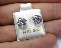 GOLD 14KT CUBIC ZIRCONIA GOLD EARRINGS 9.95 CTS GTJA358