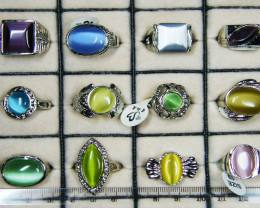 RESELLERS DEAL 12 CATS EYE STH GEMSTONE RINGS AAT 768