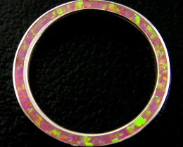 SILVER RING IMO OPAL INLAID ON SIDE RING SIZE 9 AAT830