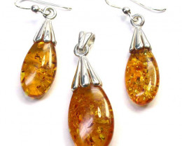 BALTIC AMBER EARRINGS AND PENDANT SILVER 31.30 CTS [SJ1423]