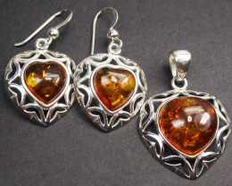 BALTIC AMBER EARRINGS AND PENDANT SILVER 42.65 CTS [SJ1432]