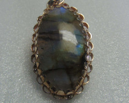 Crafted designs pendent~ labradorite ~ nice silvers 66.80 cts