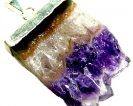 AMETHYST GEO SLICE PENDANT -PLATED 46.30 CTS [ GT 1853]