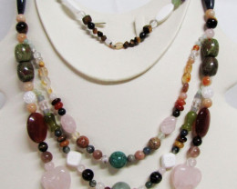 910 Cts Long Multi gemstone Necklace MJA 1127