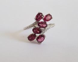Rhodolite 925 Sterling silver ring #521