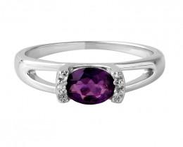 Amethyst 925 Sterling silver ring #672