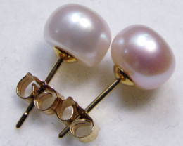 8-8.5 MM DIAM 14 K GOLD PINKISH PEARL EARRING STUD TP 21
