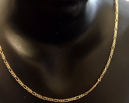 Mini Figaro Link  9k gold Necklace italian made 44cm lengthL 504