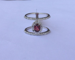 Rhodolite 925 Sterling silver double band ring #570