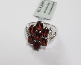 Garnet 925 Sterling silver ring #491