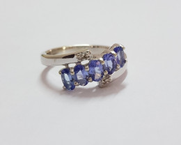Tanzanite diamond 925 Sterling silver ring #681