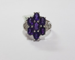 Amethyst 925 Sterling silver ring #491