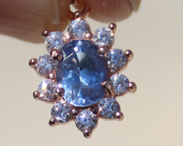 Tanzanite .72ct,Rose Gold Plated,Solid Sterling Silver Pendant