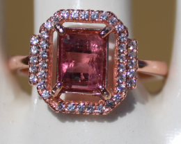 Red Tourmaline (Rubellite) 1.40ct, Rose Gold Plated,Solid Sterling Silver R
