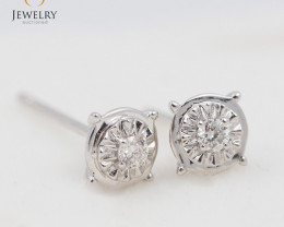 18 K White Gold Diamond earrings  - 10 - E11352