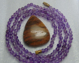 Natural amethyst stone beads necklace