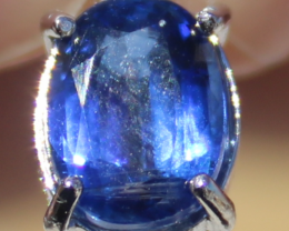 Kyanite 1.60ct,White Gold Plated,Solid Sterling Silver Pendant