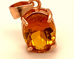Rare!! Orange Tourmaline 1.55ct,Rose Gold Plated,Solid Sterling Silver Pend