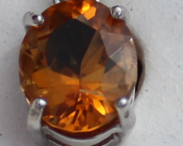 Orange Tourmaline 1.05ct,White Gold Plated, Solid Sterling Silver Pendant,