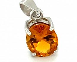 Orange Tourmaline 1.05ct White Gold Finish Solid 925 Sterling Silver Pendan
